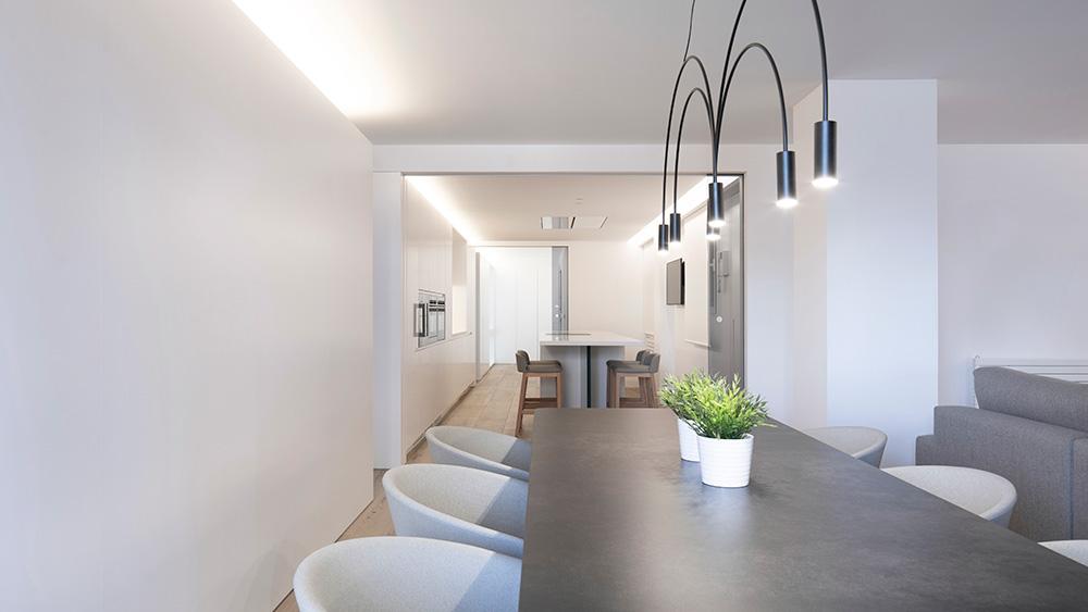Vivienda GC, reforma integral y diseño de interior en el centro histórico de Valencia por onside - comedor