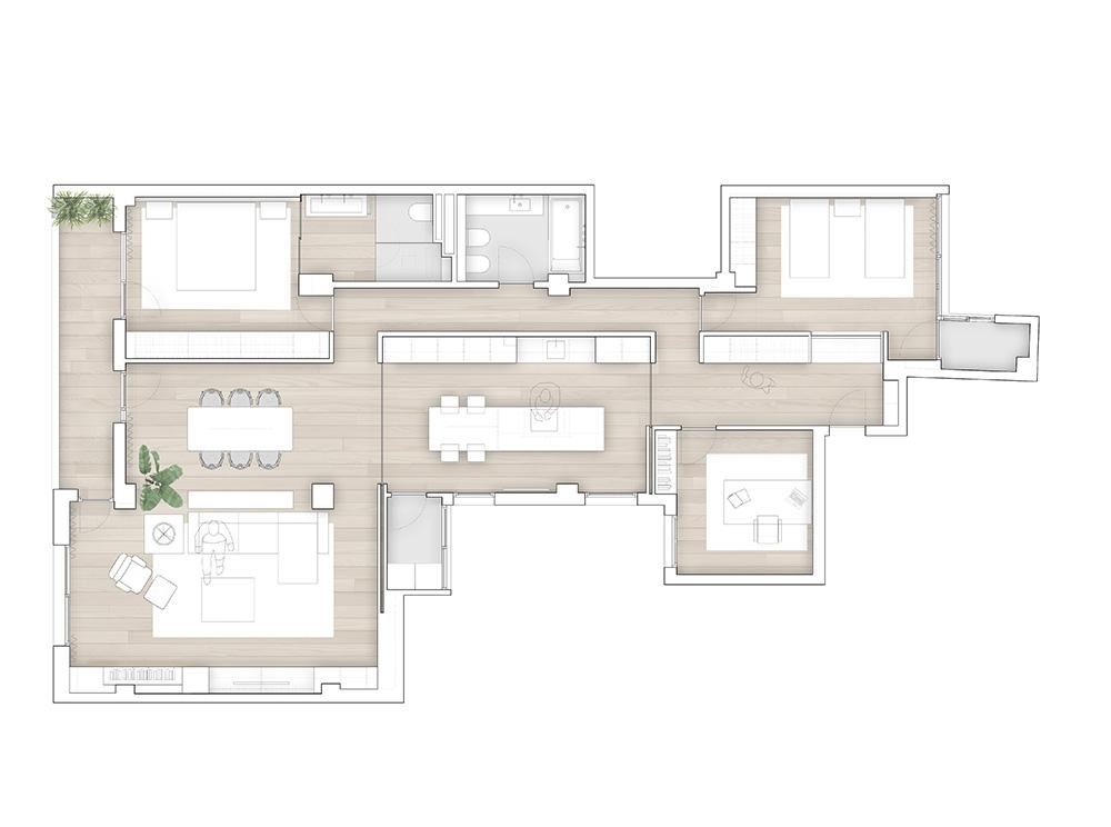 Vivienda GC, reforma integral y diseño de interior en el centro histórico de Valencia por onside - plano