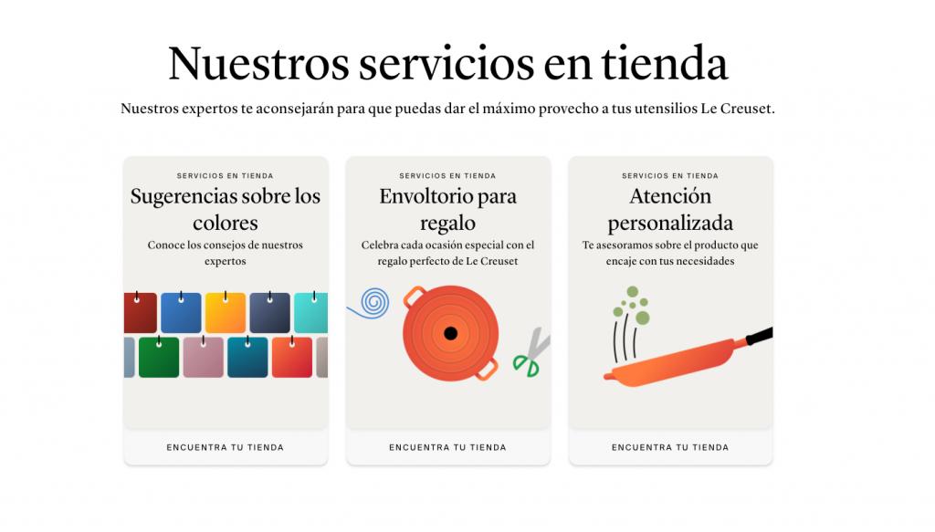 Nuevos servicios en la web Le Creuset